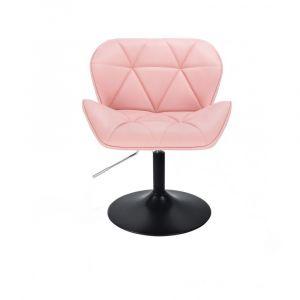 Kosmetická židle MILANO na černé kulaté podstavě - růžová