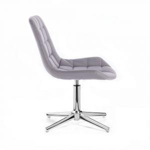Kosmetická židle PARIS na stříbrném kříži - šedá