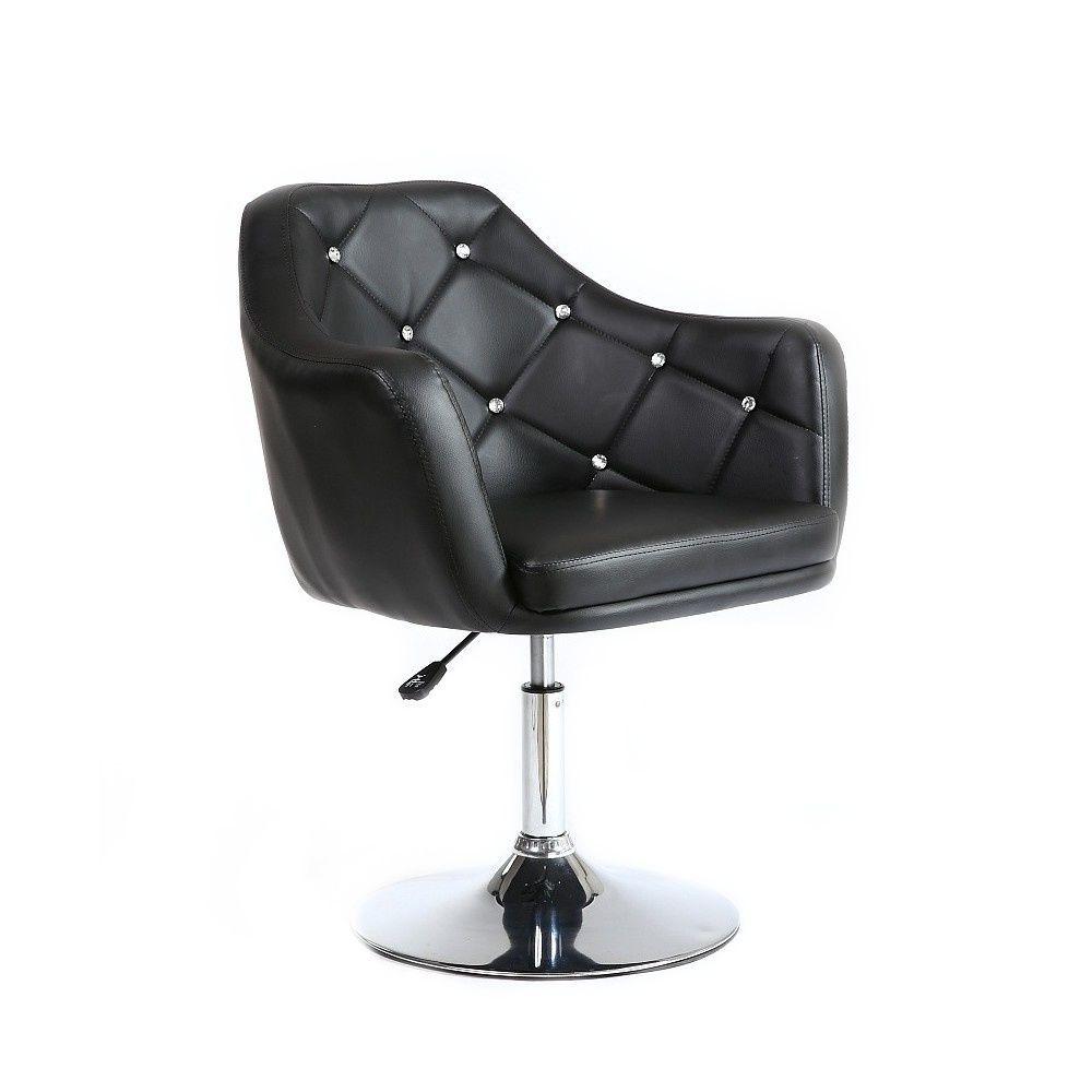 Kosmetická židle ROMA na kulaté podstavě - černá