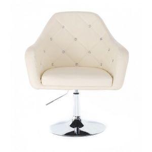 Kosmetická židle ROMA na kulaté podstavě - krémová