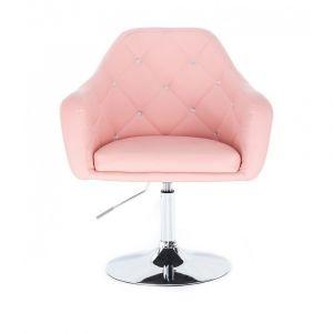 Kosmetická židle ROMA na kulaté podstavě - růžová