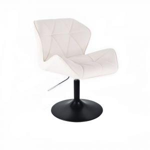 Židle MILANO na černé kulaté podstavě - bílá