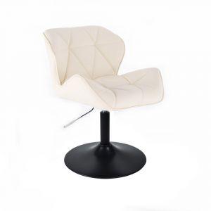 Židle MILANO na černé kulaté podstavě - krémová