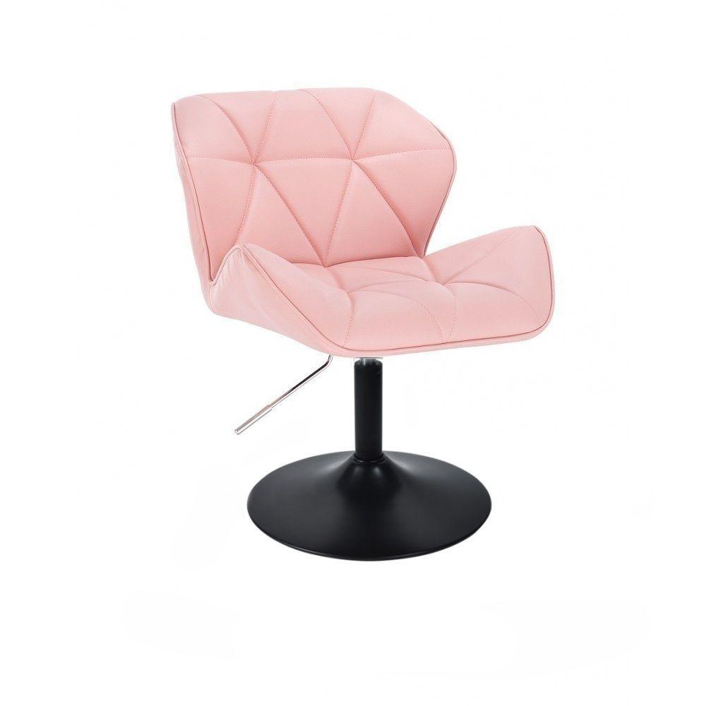 Židle MILANO na černé kulaté podstavě - růžová
