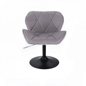 Židle MILANO na černé kulaté podstavě - šedá