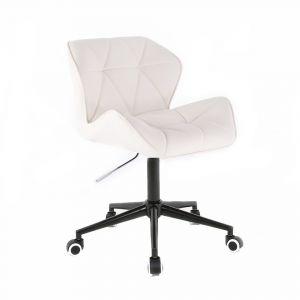 Židle MILANO na černé podstavě s kolečky - bílá