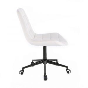 Židle PARIS na černé podstavě s kolečky - bílá