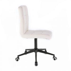 Židle TOLEDO na černé podstavě s kolečky - bílá