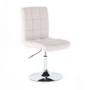 Židle TOLEDO na stříbrné kulaté podstavě - bílá