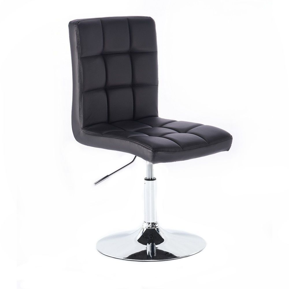 Židle TOLEDO na stříbrné kulaté podstavě - černá