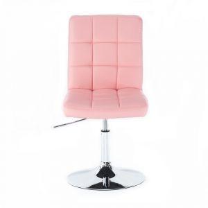 Židle TOLEDO na stříbrné kulaté podstavě - růžová