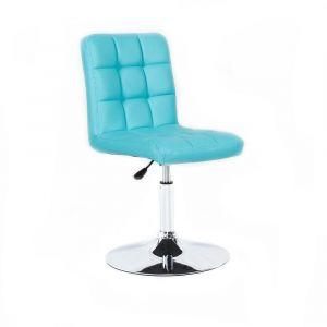 Židle TOLEDO na stříbrné kulaté podstavě - tyrkysová