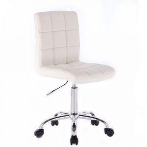 Židle TOLEDO na stříbrné podstavě s kolečky - bílá