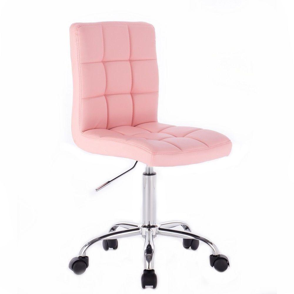 Židle TOLEDO na stříbrné podstavě s kolečky - růžová