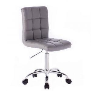 Židle TOLEDO na stříbrné podstavě s kolečky - šedá