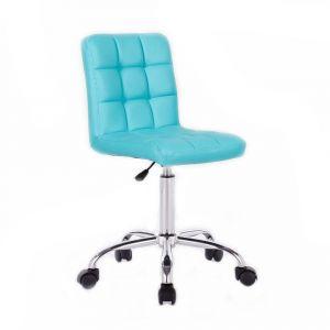 Židle TOLEDO na stříbrné podstavě s kolečky - tyrkysová
