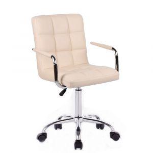 Židle VERONA na podstavě s kolečky krémová