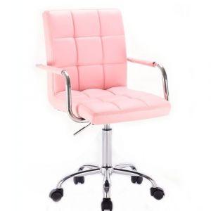 Židle VERONA na podstavě s kolečky růžová