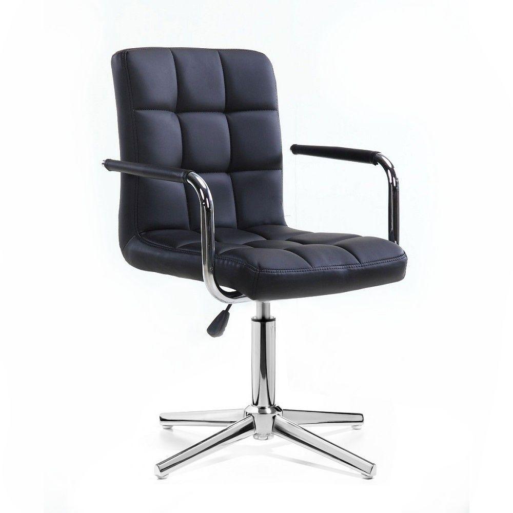 Židle VERONA na stříbrném kříži - černá