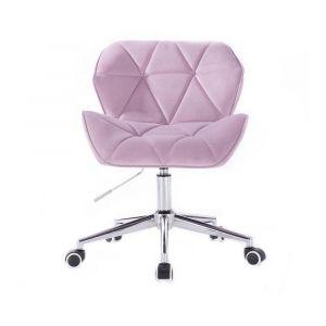 Kosmetická židle MILANO VELUR na stříbrné podstavě s kolečky - fialový vřes