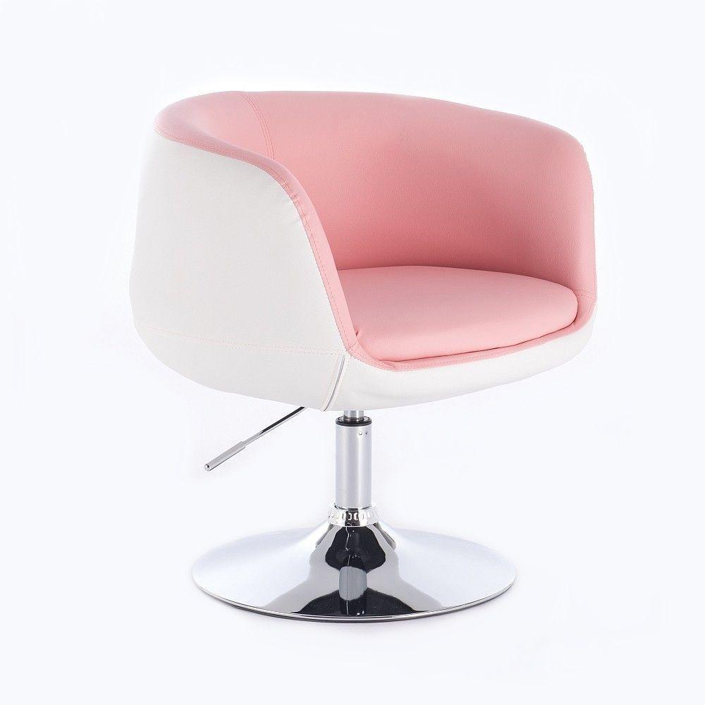 Kosmetická židle MONTANA na kulaté podstavě - růžovobílá