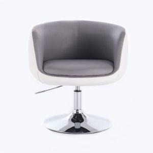 Kosmetická židle MONTANA na kulaté podstavě - šedobílá