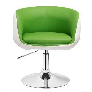 Kosmetická židle MONTANA na stříbrné kulaté podstavě - zelenobílá