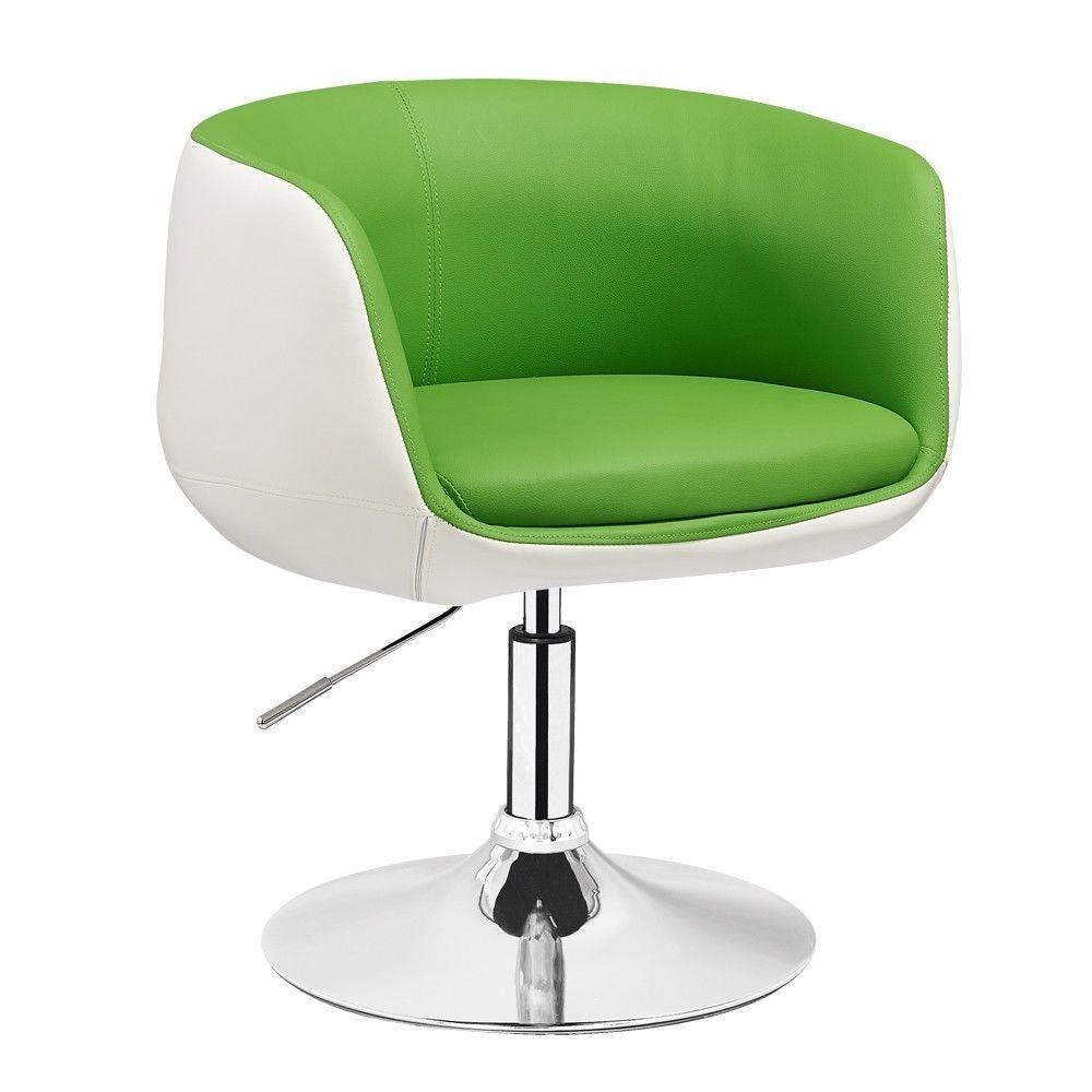 Kosmetická židle MONTANA na kulaté podstavě - zelenobílá