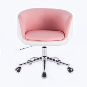 Kosmetická židle MONTANA na podstavě s kolečky růžovobílá