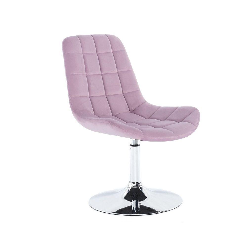 Kosmetická židle PARIS VELUR na stříbrném talíři - fialový vřes