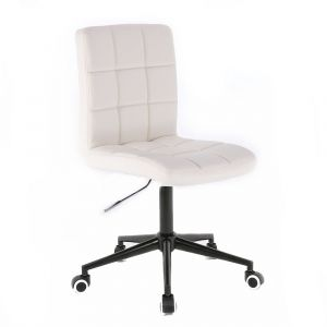 Kosmetická židle TOLEDO na černé podstavě s kolečky - bílá