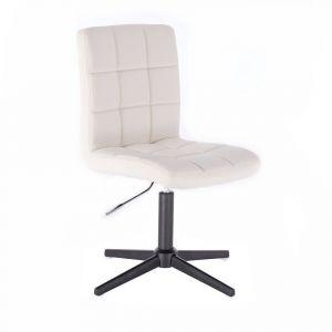 Kosmetická židle TOLEDO na černém kříži - bílá