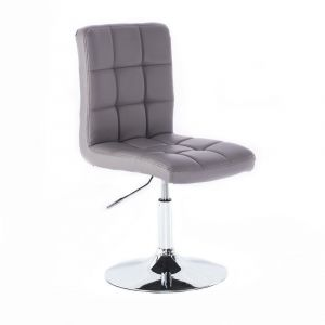 Kosmetická židle TOLEDO na stříbrné kulaté podstavě - šedá