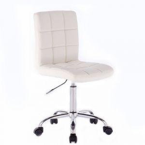 Kosmetická židle TOLEDO na stříbrné podstavě s kolečky - bílá