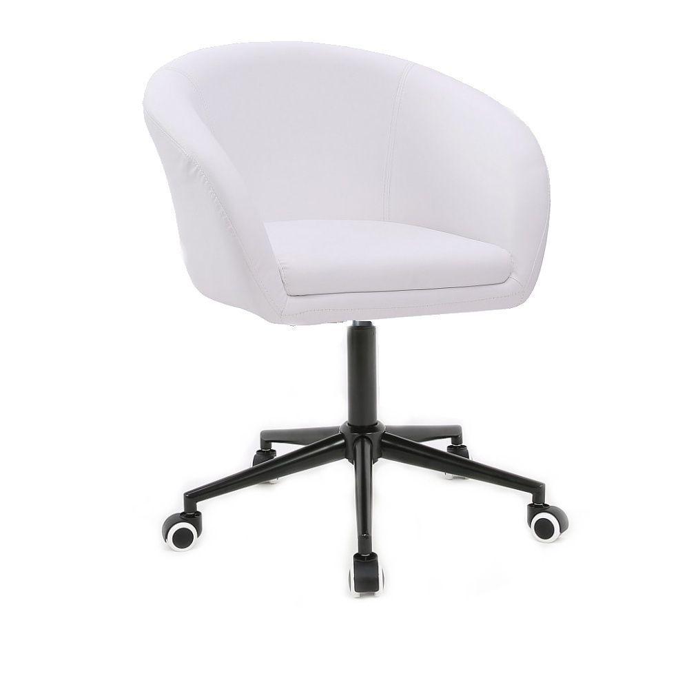 Kosmetická židle VENICE na černé podstavě s kolečky - bílá
