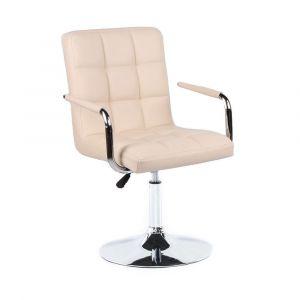 Kosmetická židle VERONA na stříbrné kulaté podstavě - krémová