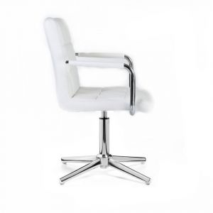 Kosmetická židle VERONA na stříbrném kříži - bílá
