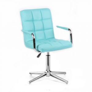 Kosmetická židle VERONA na stříbrném kříži - tyrkysová