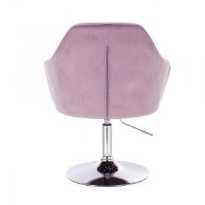 Kosmetické křeslo ANDORA VELUR na stříbrném talíři - fialový vřes