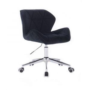 Židle MILANO VELUR na stříbrné podstavě s kolečky - černá