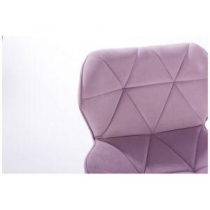 Židle MILANO VELUR na stříbrné podstavě s kolečky - fialový vřes