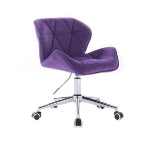 Židle MILANO VELUR na stříbrné podstavě s kolečky - fialová
