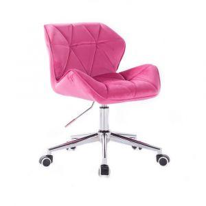 Židle MILANO VELUR na stříbrné podstavě s kolečky - růžová