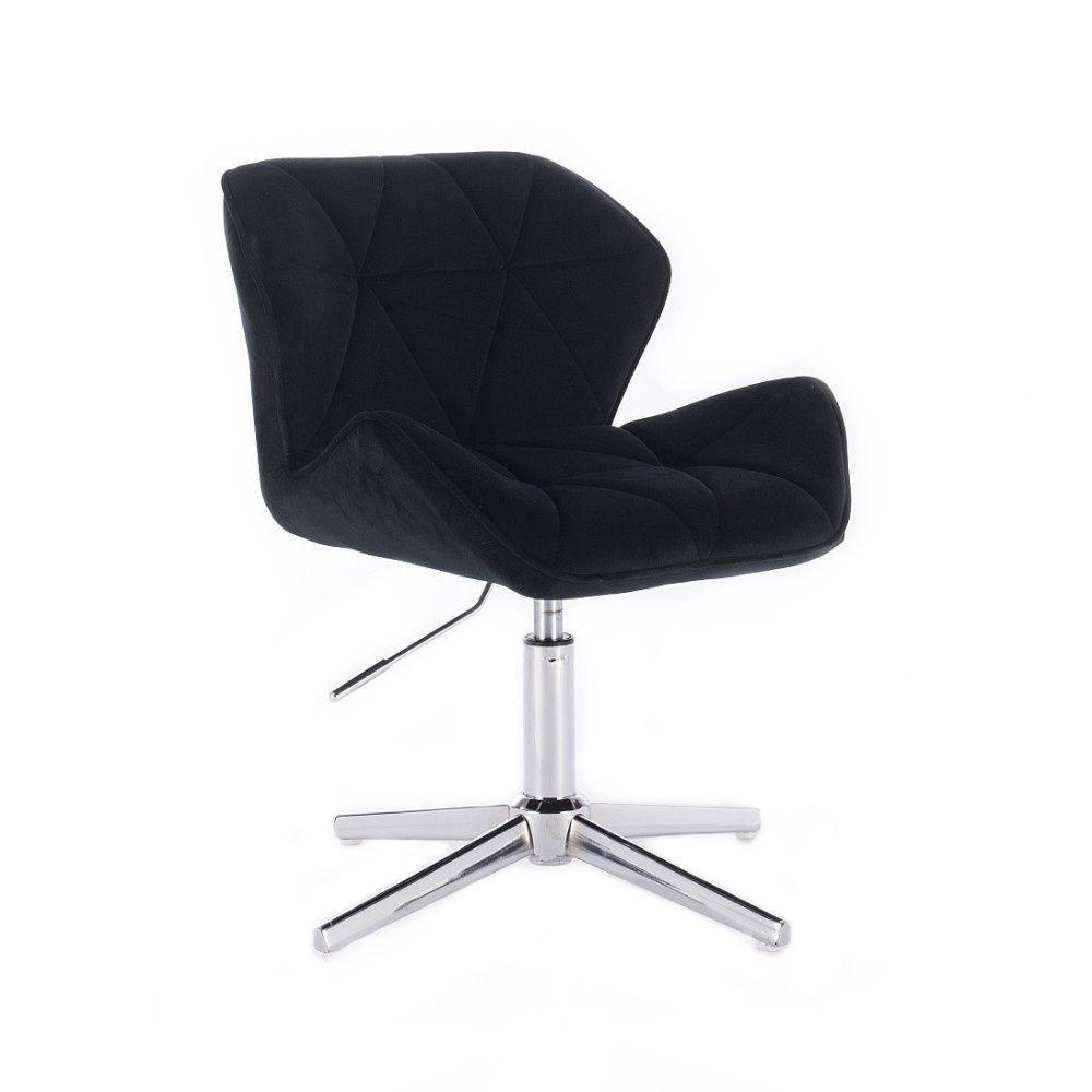 Židle MILANO VELUR na stříbrném kříži - černá