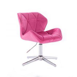 Židle MILANO VELUR na stříbrném kříži - růžová