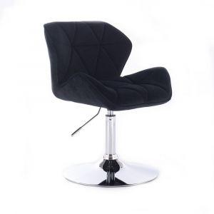 Židle MILANO VELUR na stříbrném talíři - černá