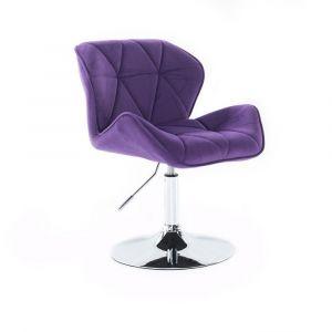 Židle MILANO VELUR na stříbrném talíři - fialová