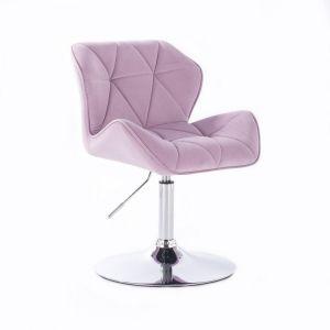 Židle MILANO VELUR na stříbrném talíři - fialový vřes