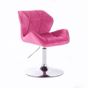 Židle MILANO VELUR na stříbrném talíři - růžová