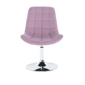 Židle PARIS VELUR na stříbrném talíři - fialový vřes